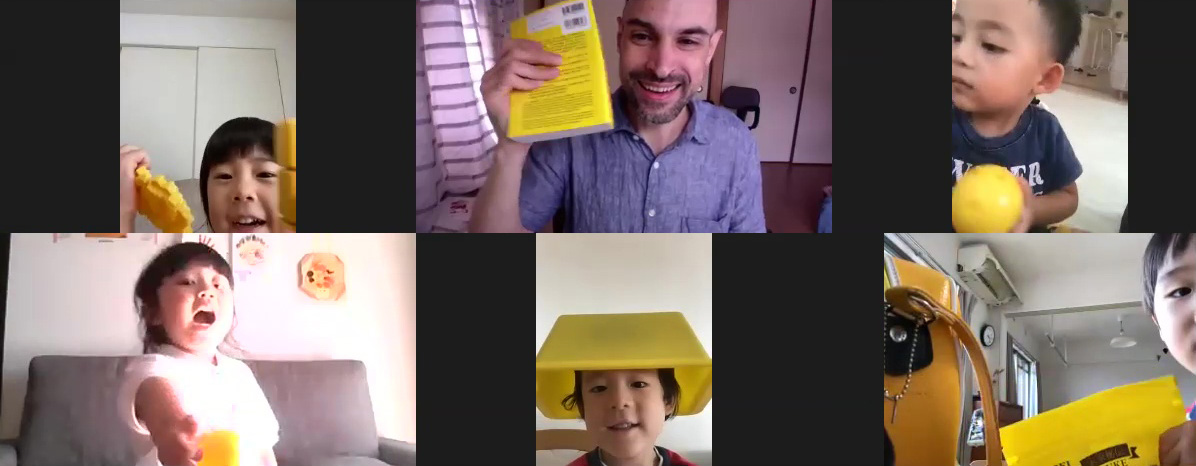 Children in an online preschool English class show and talk about yellow things they have